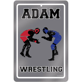 "Wrestling 18"" X 12"" Aluminum Room Sign Personalized Wrestling Sign"