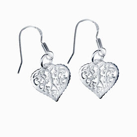 Livia Collection Sterling Silver Filigree Runner Heart Earrings