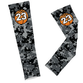 Basketball Printed Arm Sleeves Digital Camo with Basketball Number