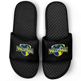 Volleyball Black Slide Sandals - Your Logo