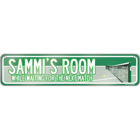 "Tennis Aluminum Room Sign Personalized Tennis Room (4""x18"")"