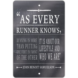 "Running 18"" X 12"" Aluminum Room Sign As Every Runner Knows"