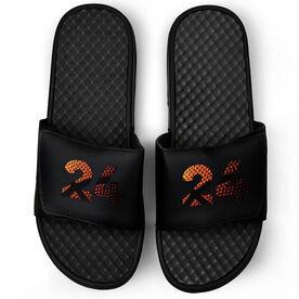 Basketball Black Slide Sandals - Custom Basketball Number