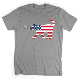 Girls Lacrosse Tshirt Short Sleeve Patriotic LuLa the Lax Dog