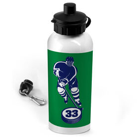 Hockey 20 oz. Stainless Steel Water Bottle Personalized Skater with Puck