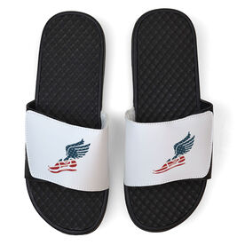 Track & Field White Slide Sandals - USA Winged Foot