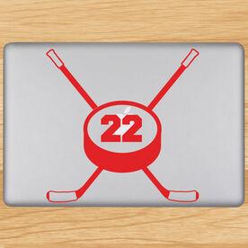 Hockey Crossed Sticks Removable ChalkTalkGraphix Laptop Decal