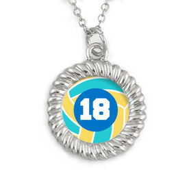 Braided Circle Necklace Volleyball with Your Number
