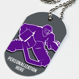 Hockey Printed Dog Tag Necklace Hockey Goalie