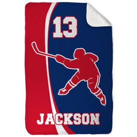 Hockey Sherpa Fleece Blanket Personalized Slapshot