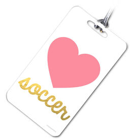 Soccer Bag/Luggage Tag Heart with Gold Soccer