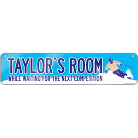 """Skiing Aluminum Room Sign Personalized While Waiting For The Next Competition (4""""x18"""")"""