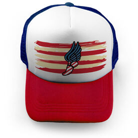 Track and Field Trucker Hat - USA Striped Winged Foot