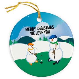 Golf Porcelain Ornament Swing Snowmen Dad