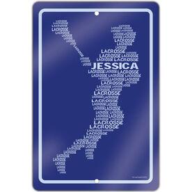 "Lacrosse Aluminum Room Sign Personalized Lacrosse Words Female (18"" X 12"")"