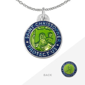 Runners St. Christopher Medal Necklace - Green/Navy (1.9cm)