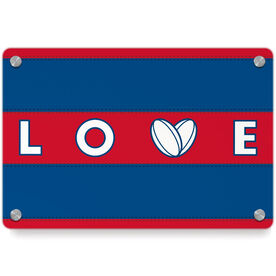 Rugby Metal Wall Art Panel - Love Ball Stripes