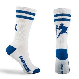 Guys Lacrosse Woven Mid Calf Socks - Player (White/Blue)