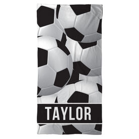 Soccer Beach Towel Personalized Ball Pattern