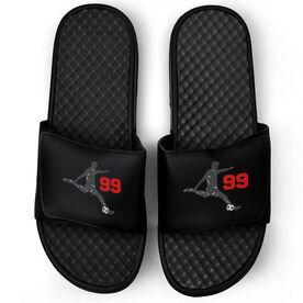 Soccer Black Slide Sandals - Guy Player with Number