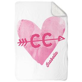 Cross Country Sherpa Fleece Blanket Watercolor Heart Arrow