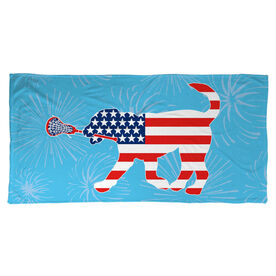 Girls Lacrosse Beach Towel Patriotic LuLa the Lax Dog