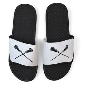 Girls Lacrosse White Slide Sandals - Crossed Sticks