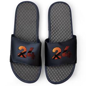 Basketball Navy Slide Sandals - Custom Basketball Number