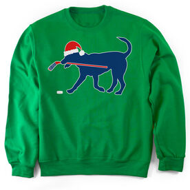 Hockey Crew Neck Sweatshirt Christmas Dog