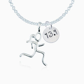 """Sterling Silver 13.1 .5"""" Circle Hand Stamped Curly Font Pendant & Stick Figure Runner Charm Necklace"""