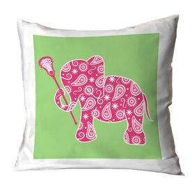 Girls Lacrosse Throw Pillow Lax Elephant