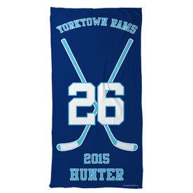 Hockey Beach Towel Personalized Team Crossed Sticks