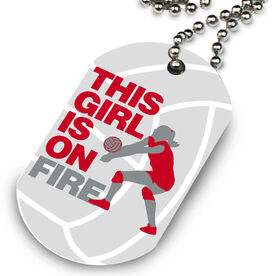 Volleyball Printed Dog Tag Necklace This Girl Is On Fire