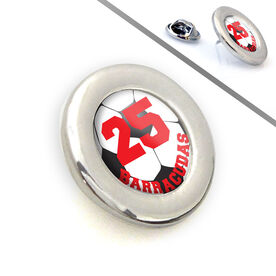Soccer Lapel Pin Team Name and Number Soccer Ball Graphic