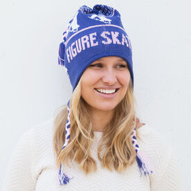 Fleece Lined Knit FIGURE SKATING Hat Blue/Pink