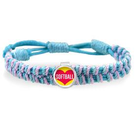 Heart Softball Adjustable Woven SportSNAPS Bracelet