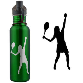 Tennis Player Silhouette (F) 24 oz Stainless Steel Water Bottle