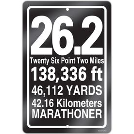 "Running Aluminum Room Sign 26.2 Math Miles (18"" X 12"")"