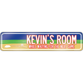"Baseball Aluminum Room Sign Personalized Baseball Room (4""x18"")"