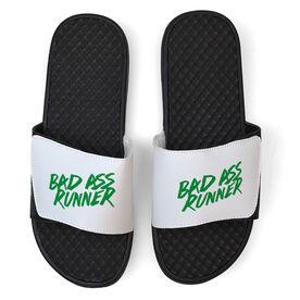 Running White Slide Sandals - Bad Ass Runner