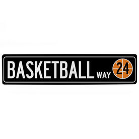 "Basketball Aluminum Room Sign Personalized Basketball Way (4""x18"")"