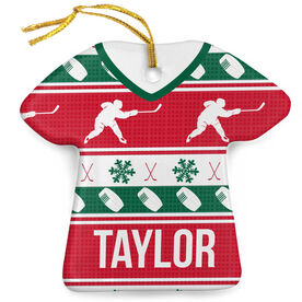 Hockey Porcelain Ornament Ugly Sweater