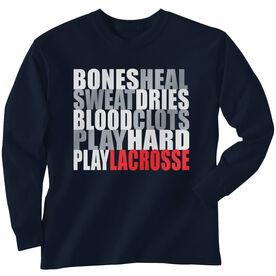 Guys Lacrosse Long Sleeve T-Shirt - Bones Saying
