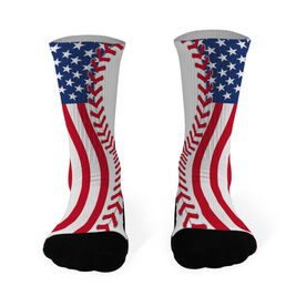 Baseball Printed Mid Calf Socks American Flag Ball
