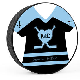 Personalized Wedding Double Sided Jersey Hockey Puck