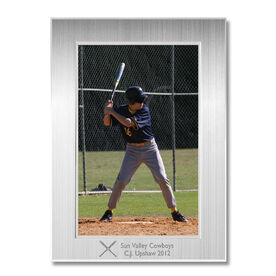 Engraved Baseball Frame Silver 4 x 6 with Baseball Icon