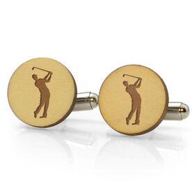 Golf Engraved Wood Cufflinks Silhouette