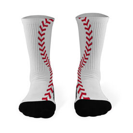 Baseball Printed Mid Calf Socks Baseball Stitches