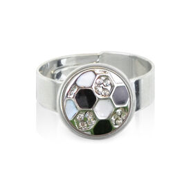 Soccer Ball Rhinestone SportSNAPS Ring
