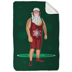Wrestling Sherpa Fleece Blanket Wrestling Santa